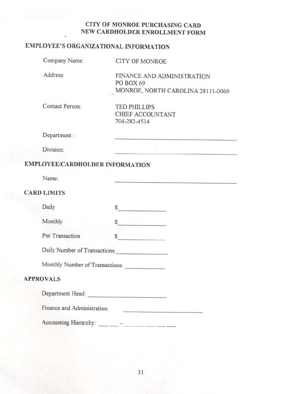 Sample Purchasing Forms UNC School of Government - sample form