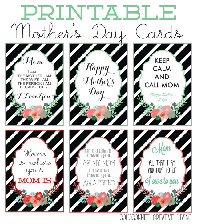 Free Mother\u0027s Day Printables {Cards + Prints} - SohoSonnet Creative - online printable mothers day cards