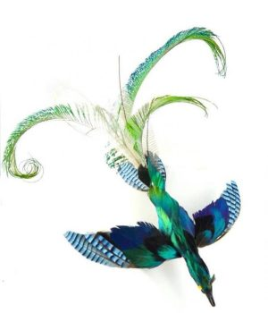 Broche phenix bleu Soiéphémère plumasserie