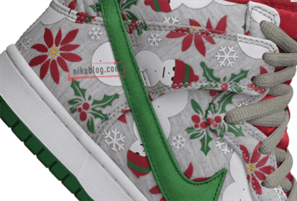 """Check out this crazy Christmas themed Nike SB Dunk High """"Ugly Sweater.""""  Sporting a holiday design of Red and Green, the sneaker comes fully  equipped with ..."""