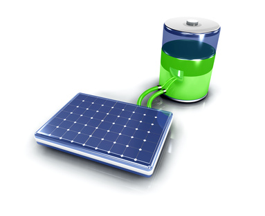 A solar panel charging a battery