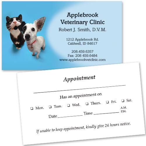 Vet Business Cards w/ Appointment - Listen Up Veterinary Supplies