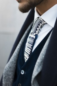 Dark Blue Knit Pattern Tie | SOLETOPIA