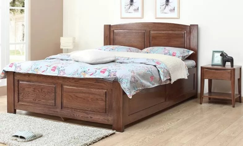 Home Hotel Rooms Solid Wood Storage Bed Real Wood