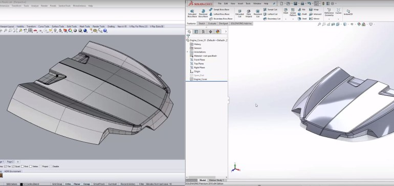 Perfect interoperability between Rhino and SolidWorks 2016