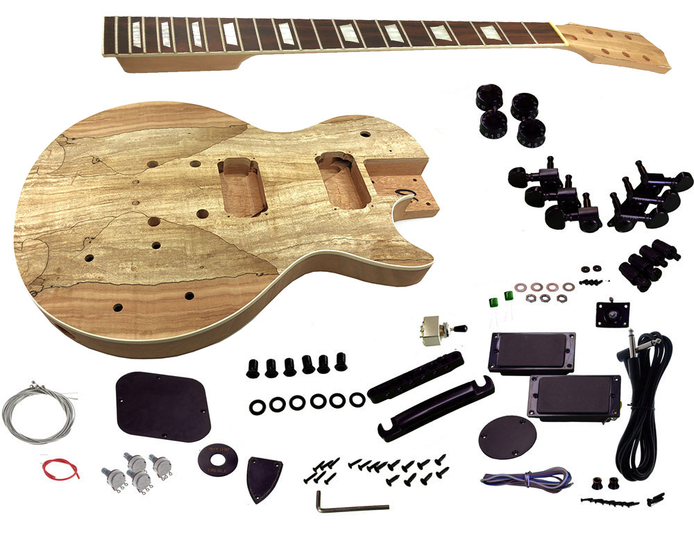 Solo LP and Unfinished Style DIY Guitar Kit, Mahogany Body, Spalted