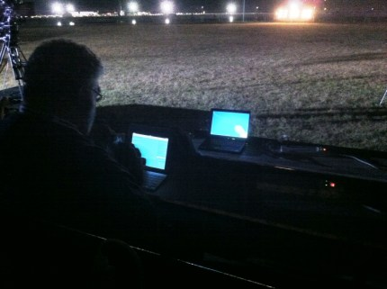 Tweeting in the Dark at the Kennedy Space Center Press Site, May 16, 2011