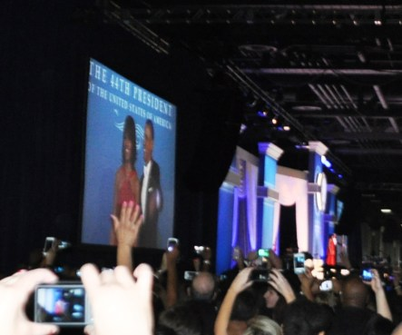 President Barack Obama and First Lady Michelle Obama Wave Before Departing the Stage After Dancing to Jennifer Hudson's Serenade during the Official Inaugural Ball, Washington, D..C., Jan. 21, 2013