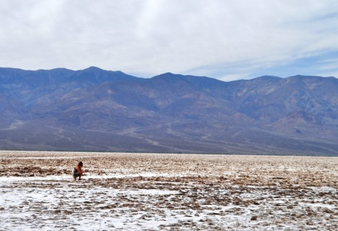 Barefoot in the Middle of Badwater Basin, Death Valley National Park, Calif.