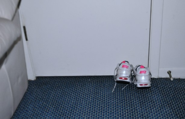 Sneakers Make Portable Hotel Room Doorstops