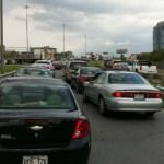 Congestion du pont Champlain vue de l'Île des Soeurs