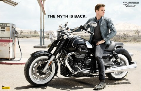 Ewan McGregor enfourche la nouvelle moto Eldorado du Moto Guzzi