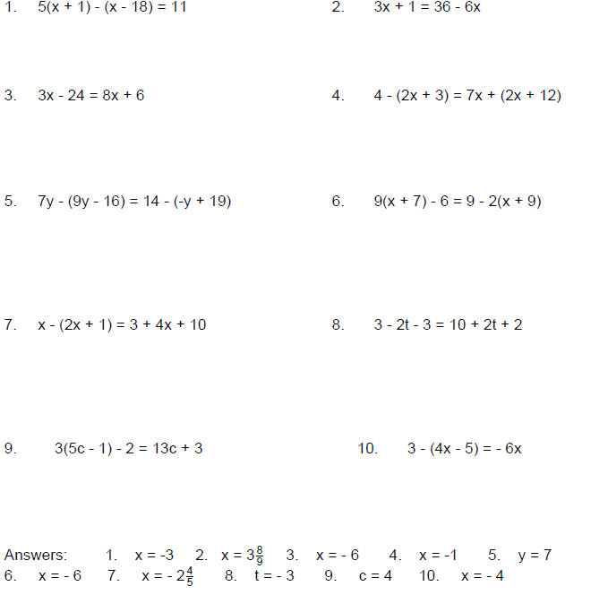 Solve Equations With Variables On Both Sides Worksheet – Solving for a Variable Worksheet