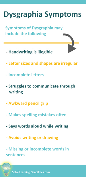 Dysgraphia Symptoms - Solve Learning Disabilities