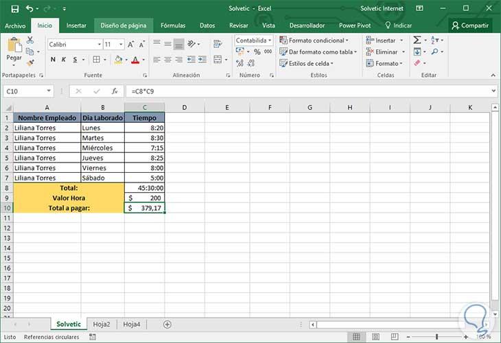 Cómo multiplicar horas por dinero Excel 2016 - Solvetic