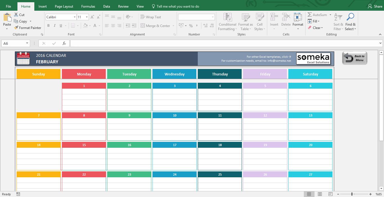 calendar template excel