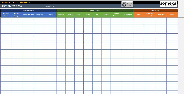 Excel Customer List Template - Costumepartyrun