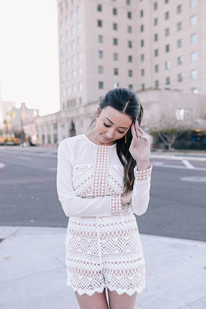 Something Sakura: White Lace Romper