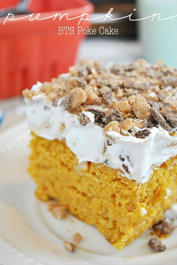 Pumpkin BTS Poke Cake | www.somethingswanky.com