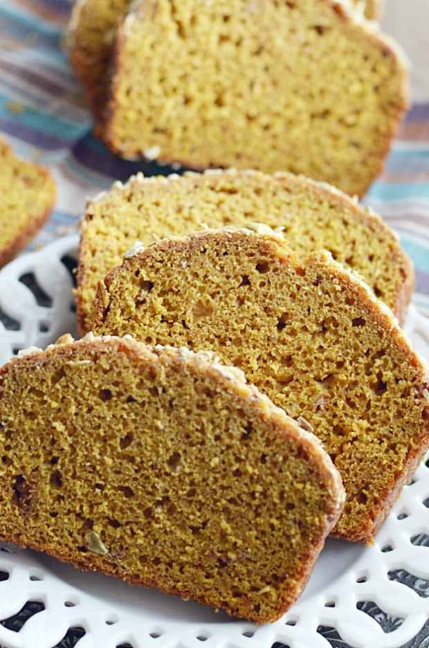 Thick moist slices of pumpkin bread that perfectly mimic everyone's favorite loaf at Starbucks. You'll love this homemade copycat recipe even more than the real thing!