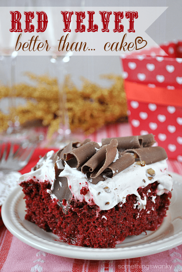 Red Velvet Better Than... Cake | This cake has all the classic looks and feel of a BTS cake, but with a surprise ingredient: Cinnabon creamer! So it tastes just like red velvet with Cinnabon frosting! mmmmmmmm :) #redvelvet #valentines #recipe #cinnabon