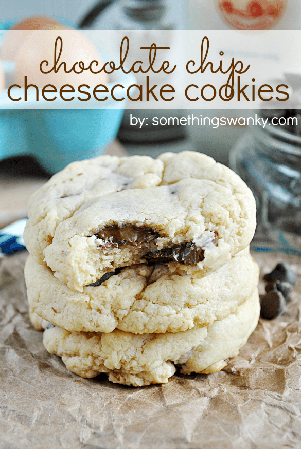 Chocolate Chip Cheesecake Cookies are about as good as it gets! Real cream cheese in the dough gives these cookies their REAL cheesecake taste!   www.somethingswanky.com