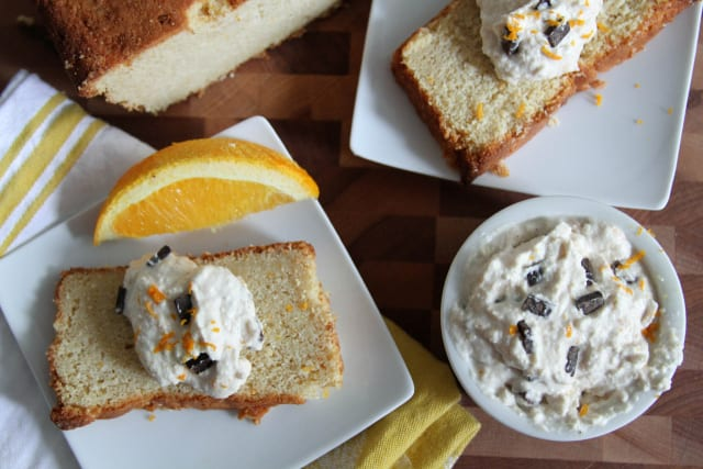 orange ricotta pound cake with orange scented ricotta cream