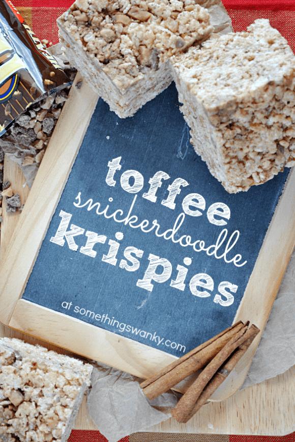 Toffee Snickerdoodle Rice Krispies Treats at www.somethingswanky.com