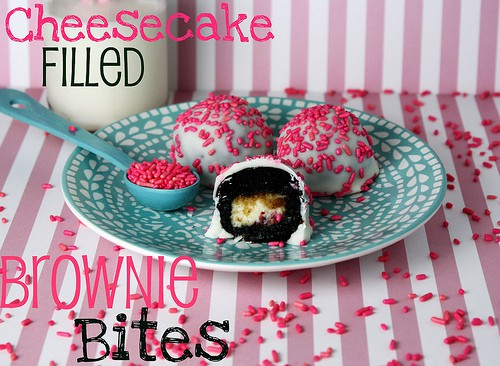 Cheesecake Filled Brownie Bites