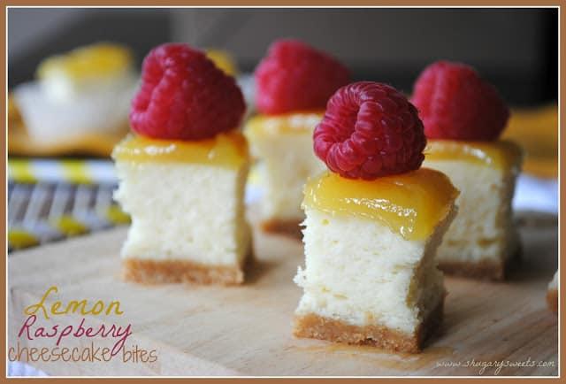 lemon raspberry cheesecake bites