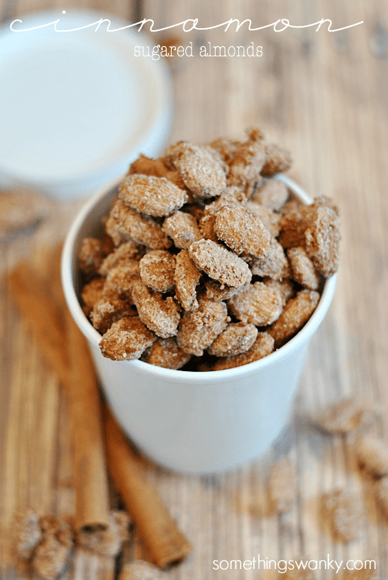 Cinnamon Sugared Almonds, you'd never believe they were so EASY! | www.somethingswanky.com