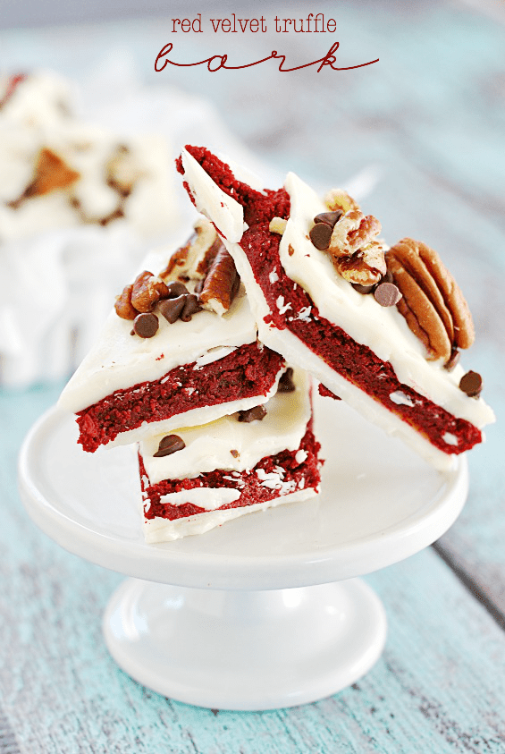 Red Velvet Truffle Bark | www.somethingswanky.com