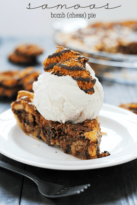 Samoas Bomb (Chess) Pie | www.somethingswanky.com