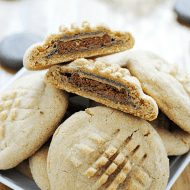 Tagalong-stuffed Peanut Butter Cookies | www.somethingswanky.com