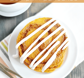 Buttery brown sugar and cinnamon swirled into fluffy pumpkin pancakes, topped with a dreamy cream cheese cinnamon roll frosting. Perfect for a yummy Fall breakfast!