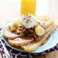 Try this caramel-y, sinfully delicious Bananas Foster French toast for breakfast this weekend!