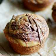 My mom's famous banana bread muffins made with peanut butter and swirled with Nutella. We didn't have a crumb left!