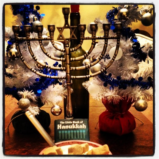 (Last year's Hanukkah decorations...no tree but a bush!)