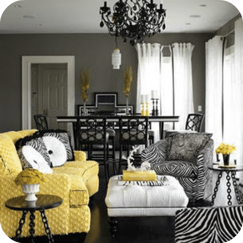 Yellow Gray And White Living Room