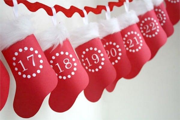 Diy Stocking Advent Calendar : Hanging paper advent stocking calendar g resize c