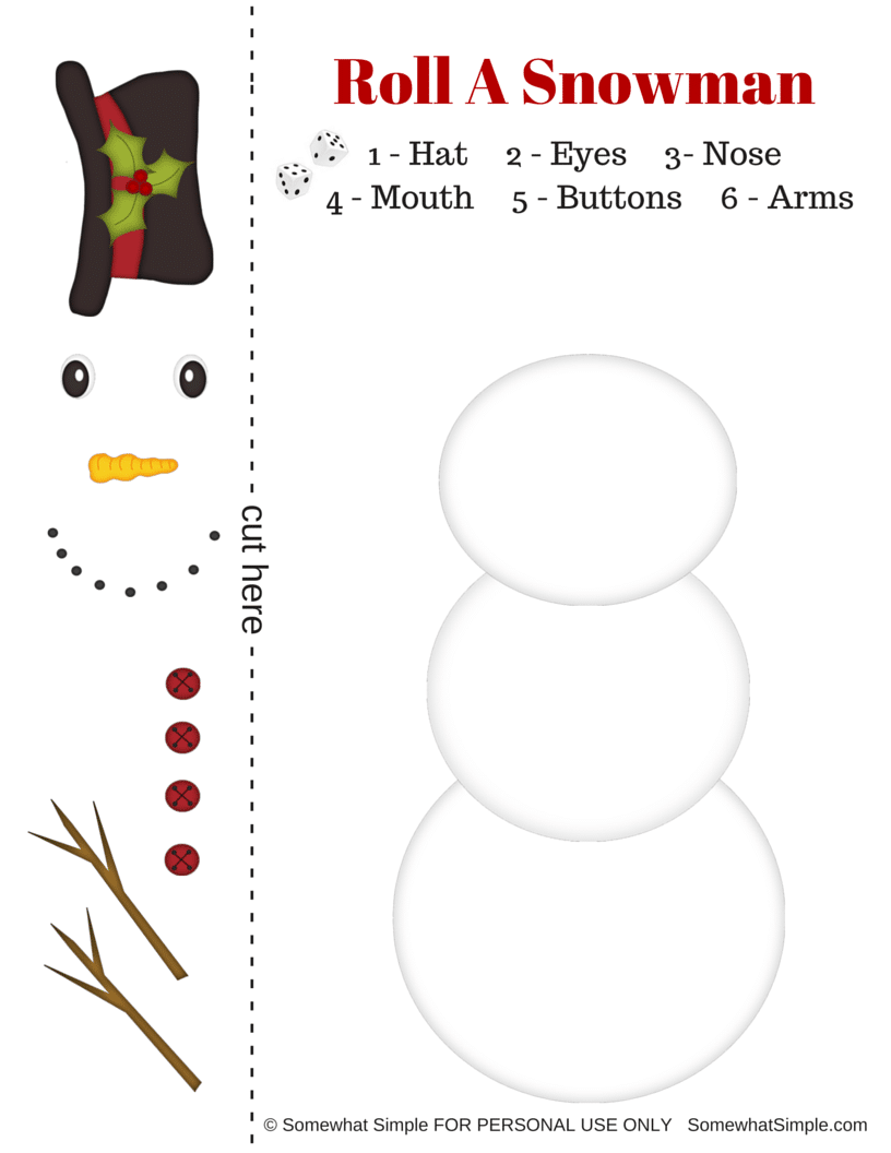 Snowman Dice Game - Somewhat Simple