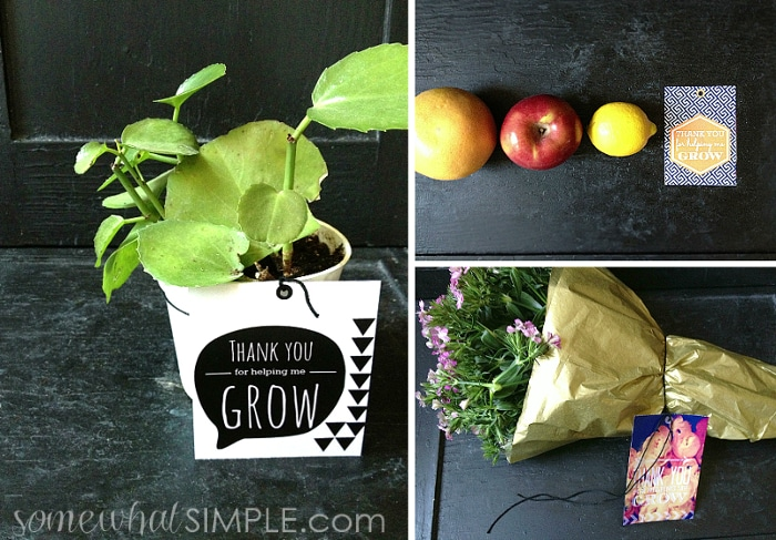 Thank you for helping me grow - free gift tags and ideas