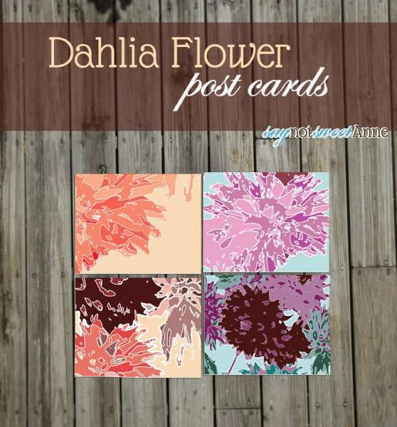 Lovely Dahlia inspired post cards #printable #cards #download