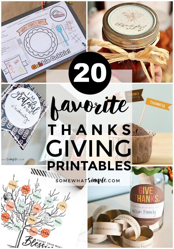 20 Favorite Thanksgiving Printables - Somewhat Simple