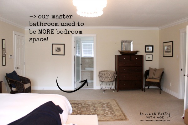 Large / master bedroom style and floor plan via somuchbetterwithage.com