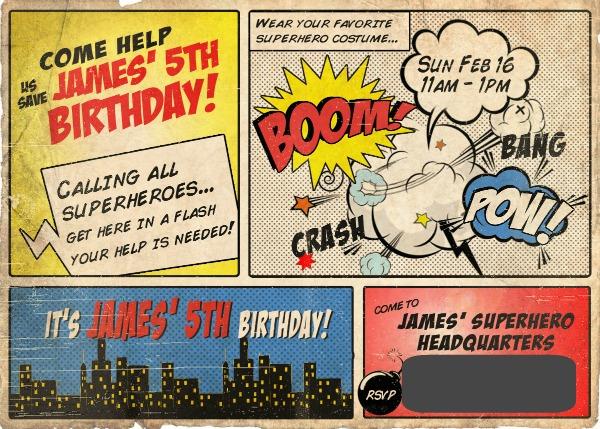 Superhero birthday invite via somuchbetterwithage.com