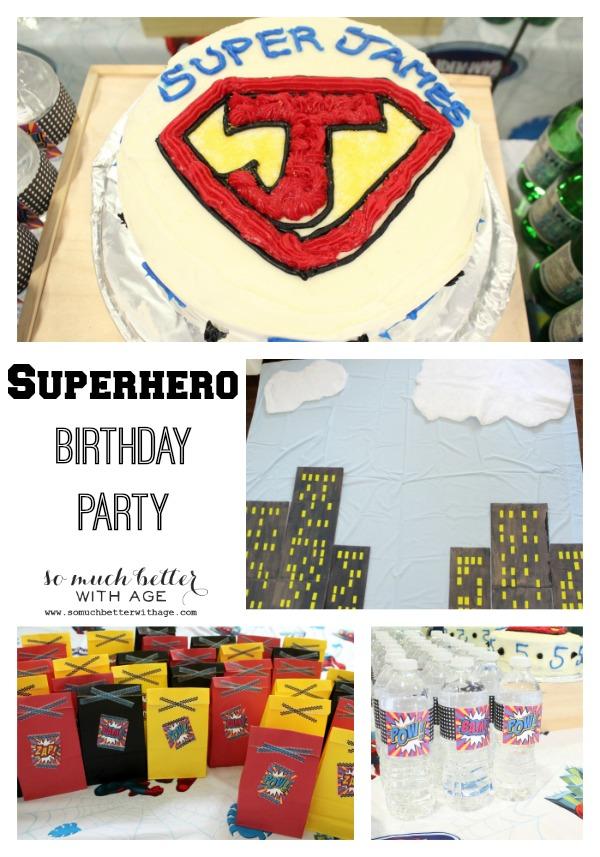 Superhero birthday party somuchbetterwithage.com