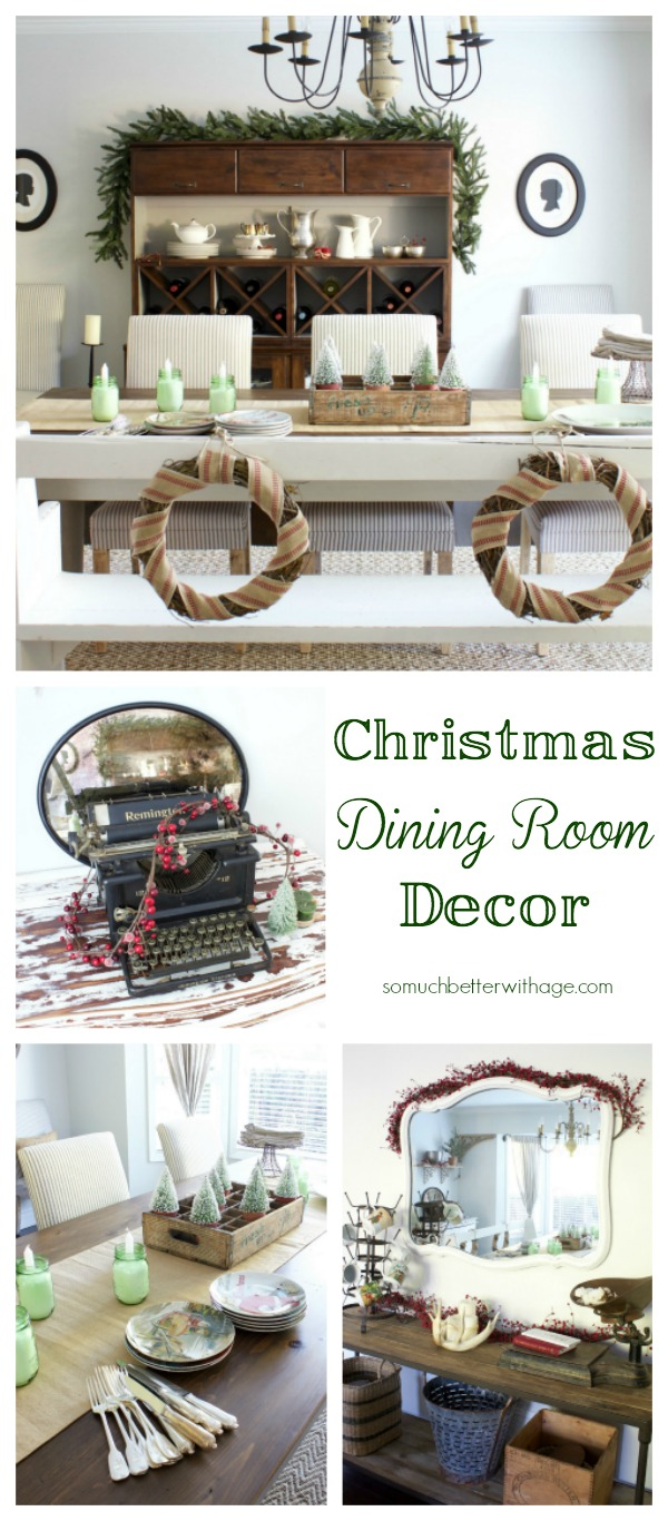 Christmas dining room decor | somuchbetterwithage.com