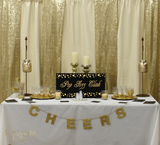 Black Gold Cream Glitter Cheers Drink Table