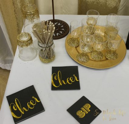 black-gold-cream-glitter-party-decorations-drink-table